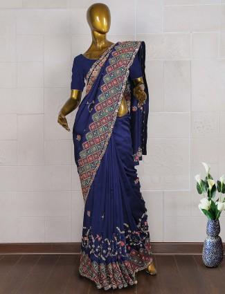 Navy blue silk wedding saree