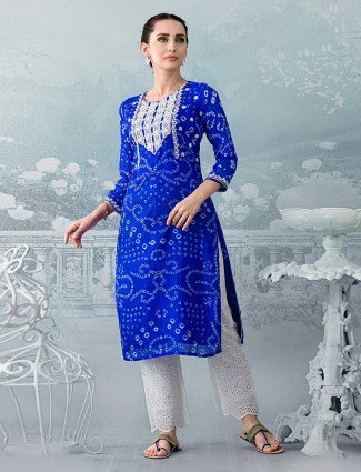 Navy blue thread detailed kurti in cotton