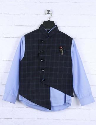 Navy checked pattern terry rayon waistcoat set