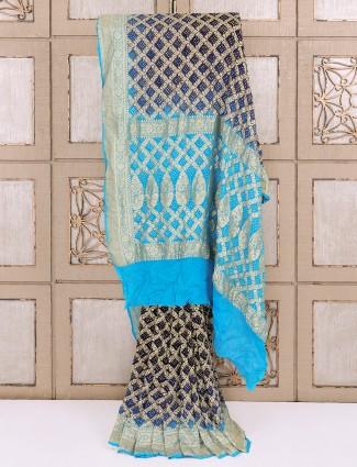 Navy color bandhej fabric saree