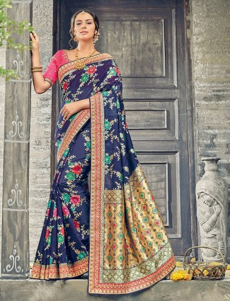 Navy color bhagalpuri silk saree for weddings