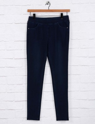 Navy color casual jeggings in cotton