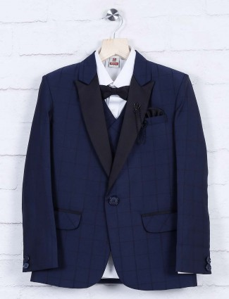 Navy color checks pattern terry rayon tuxedo suit