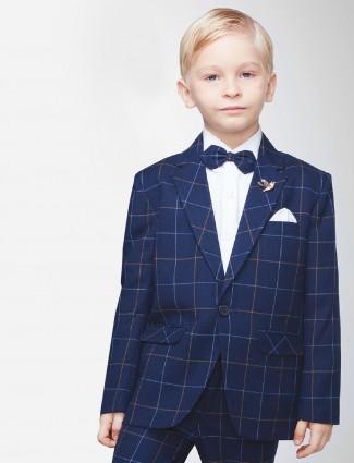 Navy color checks pattern tuxedo suit