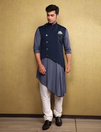 Navy color designer mens waistcoat set