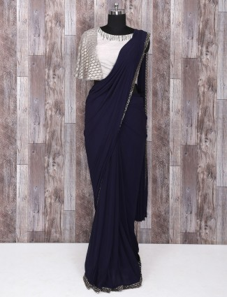 Navy color georgette ready to wear saree