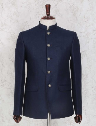 Navy color linen jodhpuri suit
