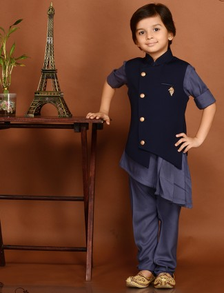 Navy color party wear waistcoat set for boys