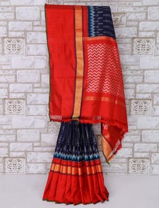 Navy color patola silk saree for festive