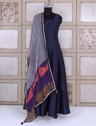 Navy color plain silk anarkali simple suit