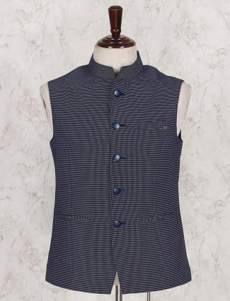 Navy color printed pattern waistcoat