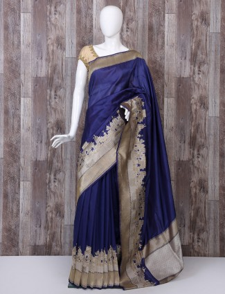 Navy color pure banarasi silk saree