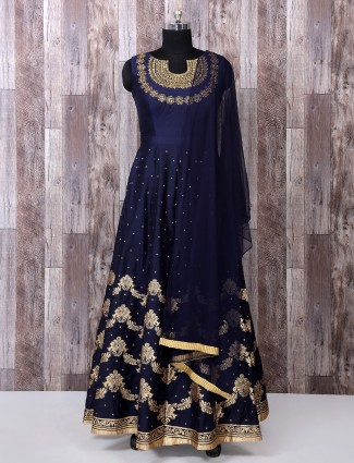 Navy color silk anarkali suit for festive funtion