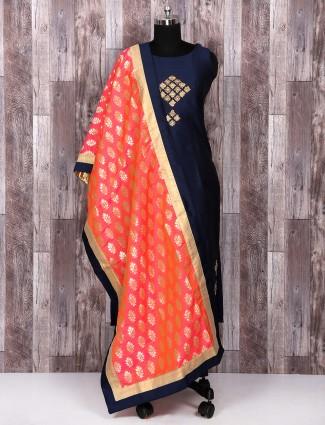 Navy color silk fabric salwar suit