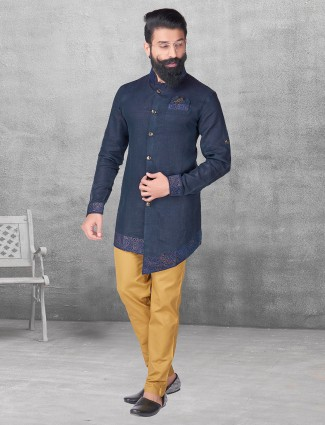 Navy color silk kurta suit for festive fuction