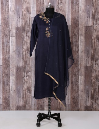 Navy color silk salwar suit for festive wear