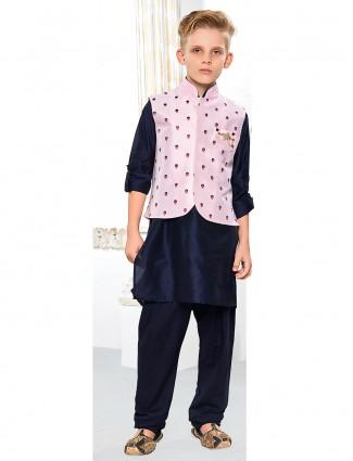 Navy color silk waistcoat set
