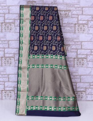 Navy color silk woven saree
