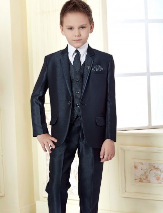 Navy color solid boys coat suit