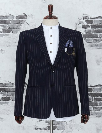 Navy color stripe pattern blazer