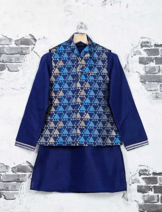Navy color texture print waistcoat set