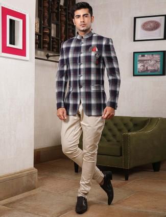 Navy color tweed parttern jodhpuri suit