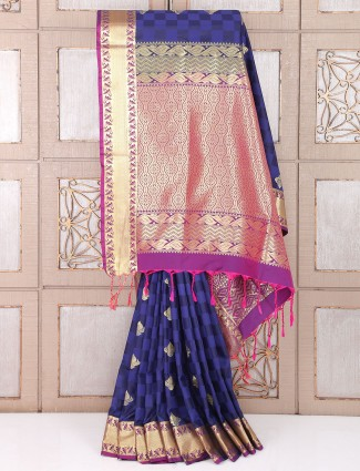 Navy color wedding wear lovely saree