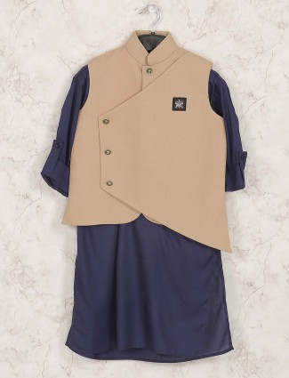 Navy colored cotton silk waistcoat set