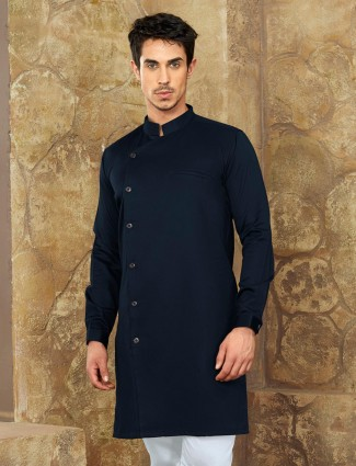 Navy colored party wear short pathani