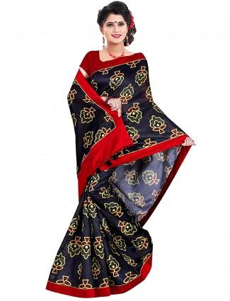 Navy colored printed cotton saree
