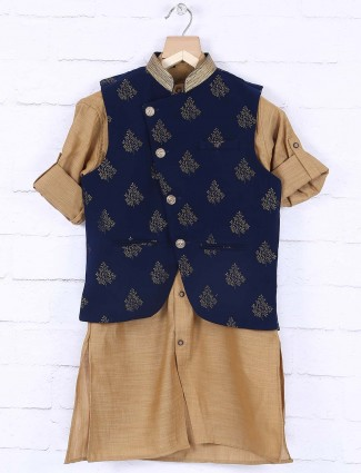 Navy colored terry rayon fabric wedding waistcoat set