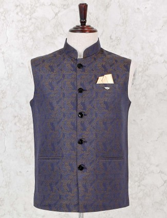 Navy colour silk party wear waistcoat