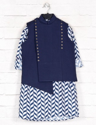 Navy cotton boys waistcoat kurta for parties