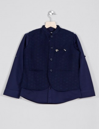 Navy cotton boys waistcoat with kurta