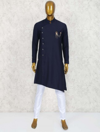 Navy cotton fabric kurta suit for party