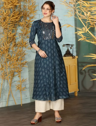 Navy cotton festive function printed palazzo suit