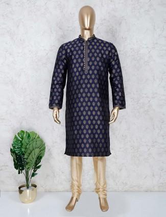 Navy cotton festive occasion kurta suit