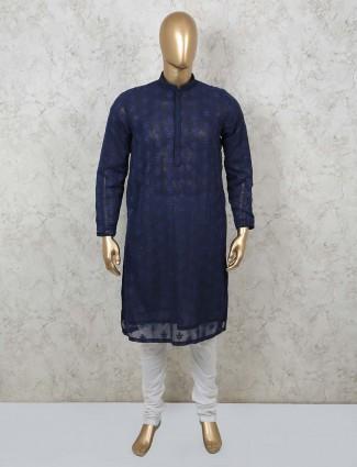 Navy cotton festive wear kurta suit for mens