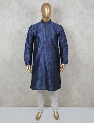 Navy cotton festive wear mens kurta suit