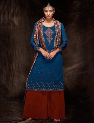 Navy cotton festive wear salwar suit