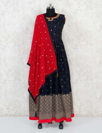 Navy cotton floor length anarkali suit