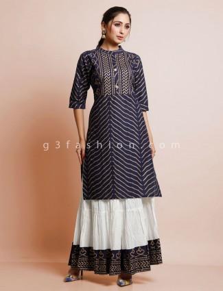Navy cotton foil printed palazzo salwar suit