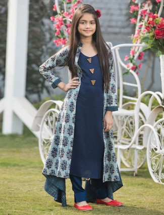 Navy cotton jacket style salwar with pant