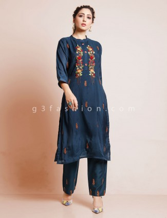 Navy cotton pant suit in punjabi style