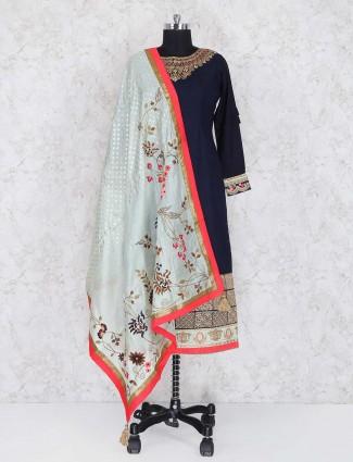 Navy cotton punjabi salwar suit