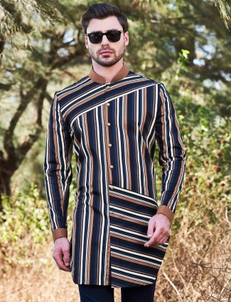 Navy cotton short kurta with stripe patern