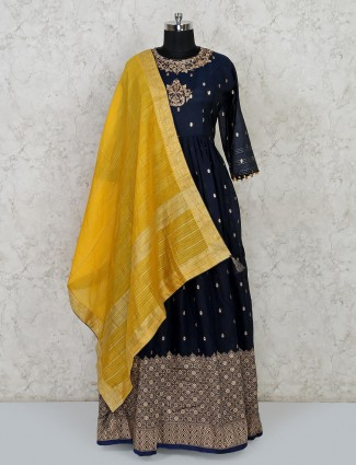Navy cotton silk anarkali floor length salwar suit