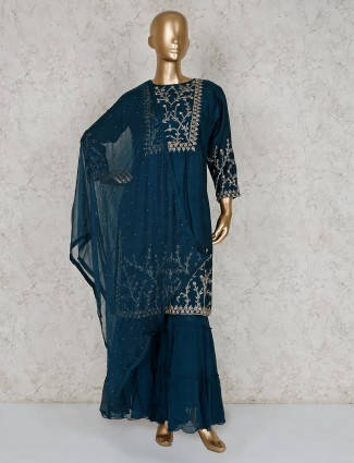 Teal cotton silk beautiful sharara suit