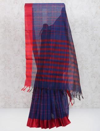 Navy cotton silk festive wear saree