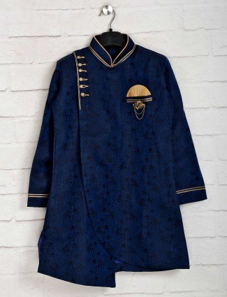 Navy cotton silk indo western for wedding